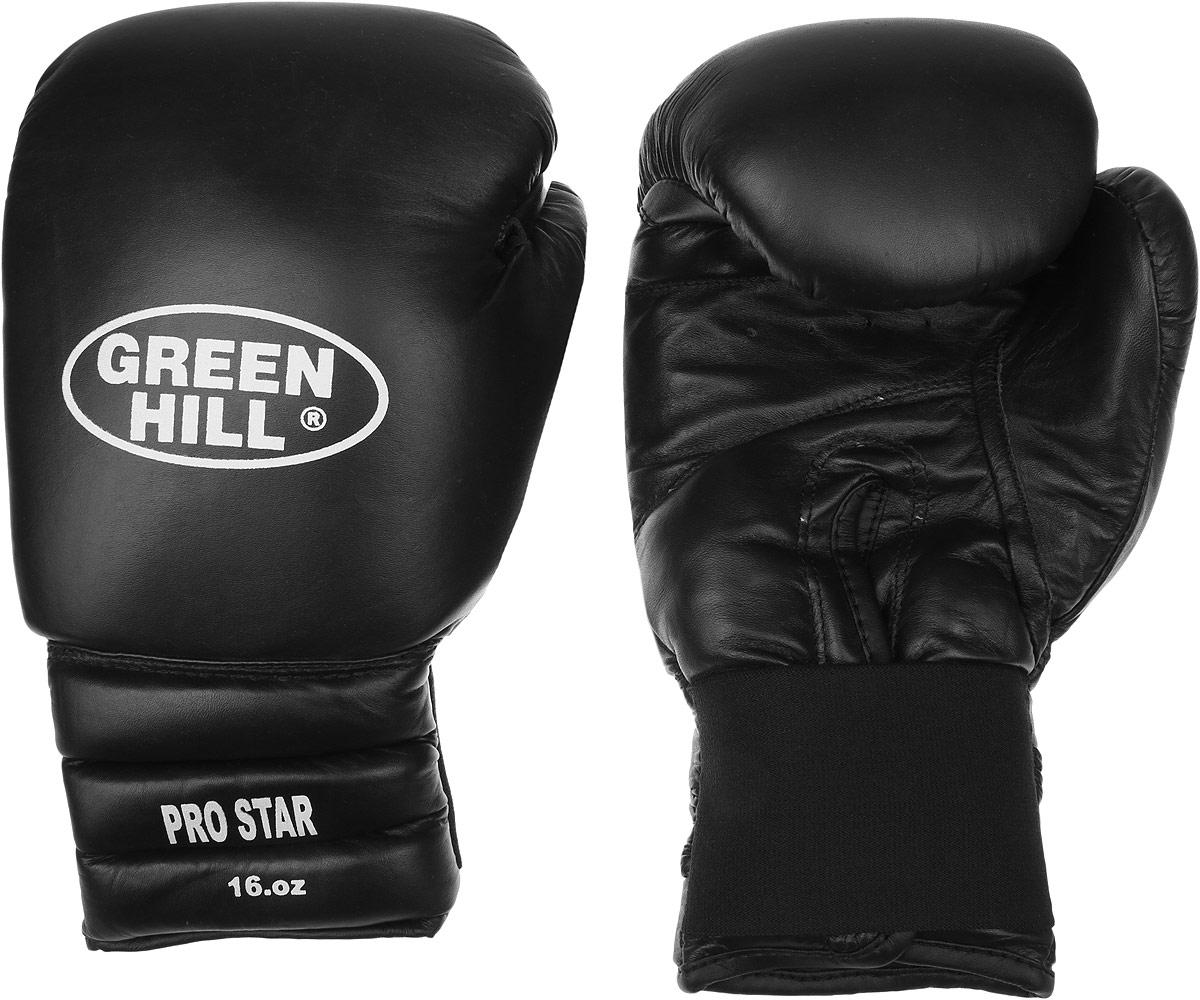 Перчатки боксерские Green Hill Pro Star, цвет: черный, белый. Вес 16 унций. BGPS-2012 перчатки снарядные green hill pro цвет черный размер xl