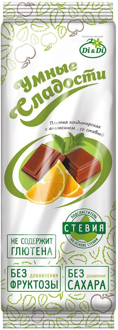 Умные сладости плитка с апельсином, 90 г вода mivela mg с газом 1л 6 шт