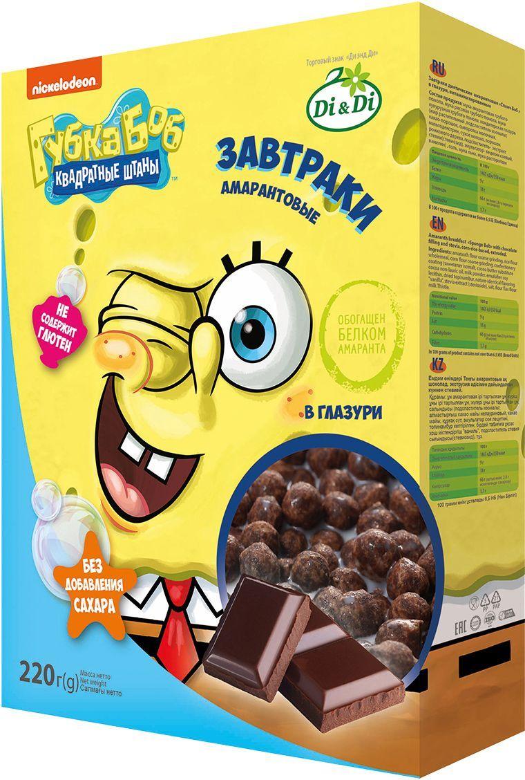 Губка Боб завтраки амарантовые в глазури, витаминизированные, 220 г4650061331535Обогащен белком амаранта.
