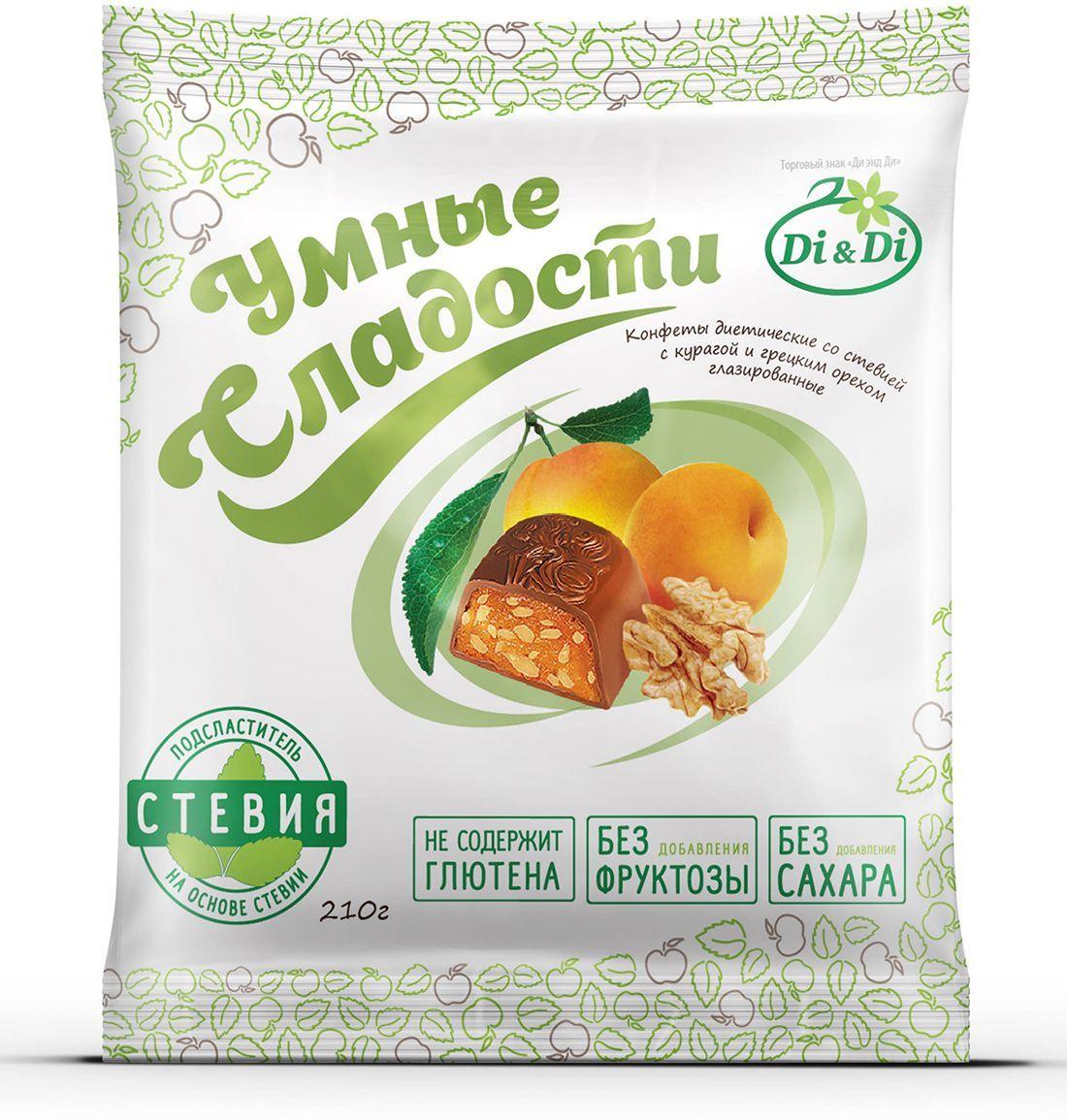 Умные сладости конфеты Курага с грецким орехом в шоколадной глазури, 210 г