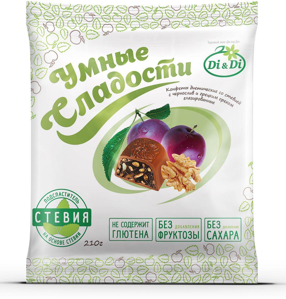 Умные сладости конфеты Чернослив с грецким орехом в шоколадной глазури, 210 г