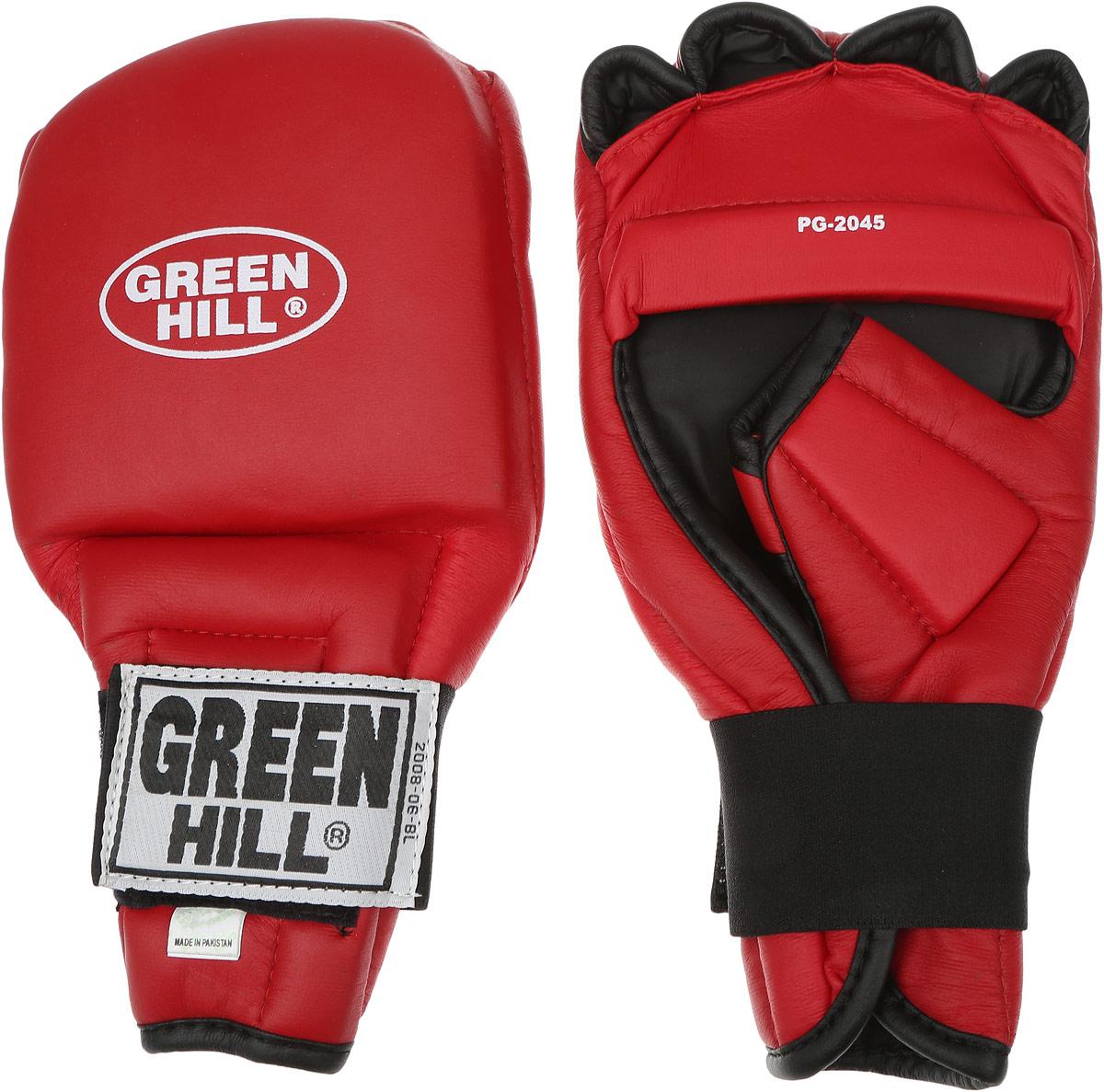Перчатки для рукопашного боя Green Hill, цвет: красный, черный. Размер XL. PG-20454355BXLUПерчатки для рукопашного боя Green Hill произведены из высококачественной искусственной кожи. Подойдут для занятий кунг-фу. Конструкция предусматривает открытые пальцы — необходимый атрибут для проведения захватов. Манжеты на липучках позволяют быстро снимать и надевать перчатки без каких-либо неудобств. Анатомическая посадка предохраняет руки от повреждений.