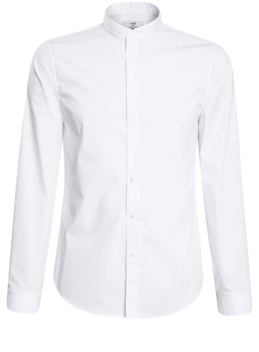 Рубашка мужская oodji Lab, цвет: белый. 3L110208M/44355N/1000N. Размер 41 (50-182)3L110208M/44355N/1000NСтильная мужская рубашка oodji Lab, выполненная из натурального хлопка, позволяет коже дышать, тем самым обеспечивая наибольший комфорт при носке. Модель-слим с отложным воротником и длинными рукавами застегивается на пуговицы по всей длине. Манжеты рукавов оснащены застежками-пуговицами.