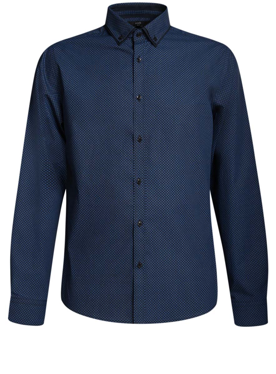 Рубашка мужская oodji, цвет: темно-синий, синий. 3L110225M/19370N/7975G. Размер 40 (48-182)3L110225M/19370N/7975GСтильная мужская рубашка oodji выполнена из натурального хлопка. Модель с отложным воротником и длинными рукавами застегивается на пуговицы спереди. Манжеты рукавов дополнены застежками-пуговицами.