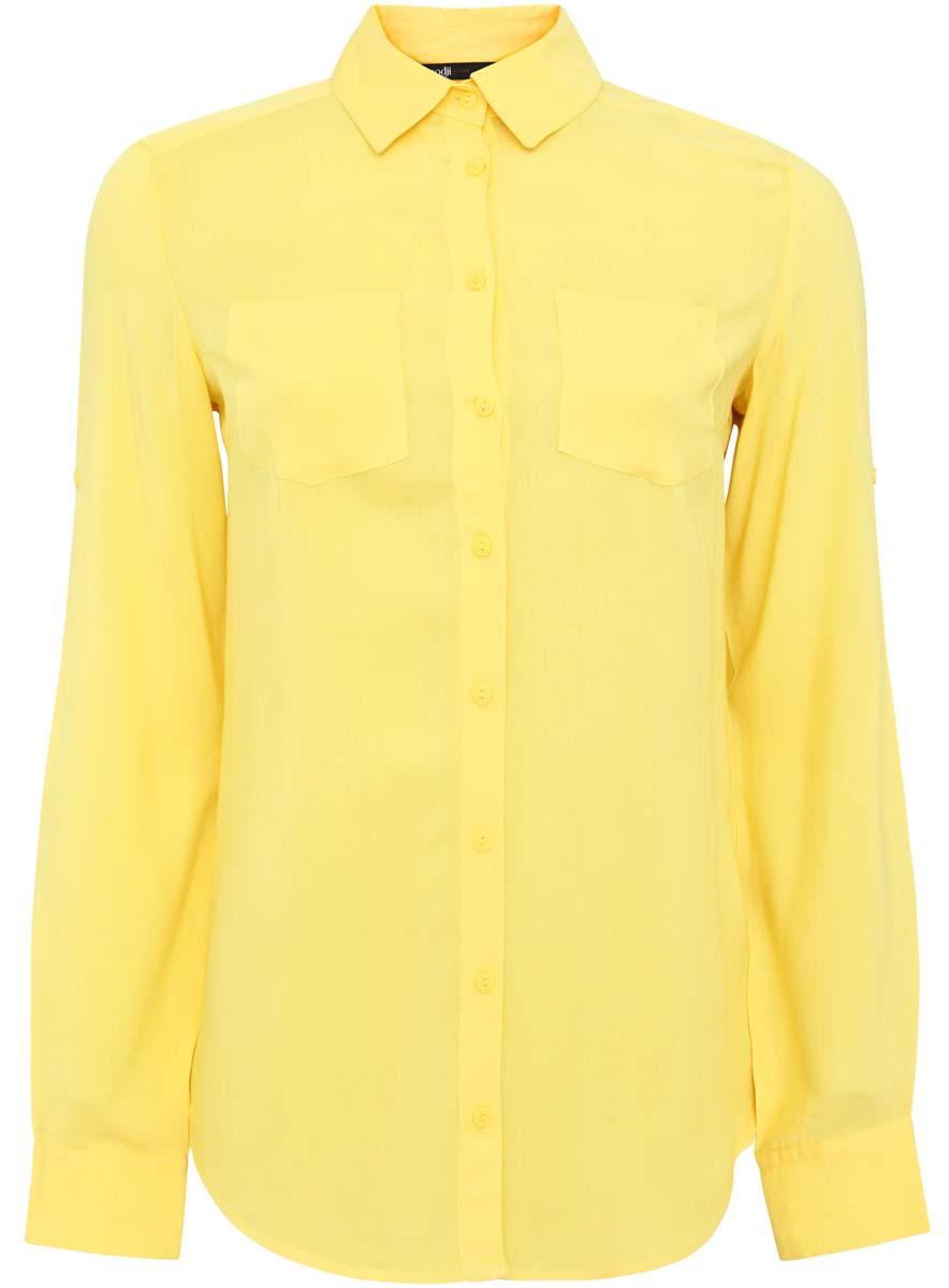 Блузка женская oodji Ultra, цвет: лимонный. 11400355-3/26346/5100N. Размер 34 (40-170) юбка oodji ultra цвет лимонный 11605061 1 35319 5100n размер 42 48 170