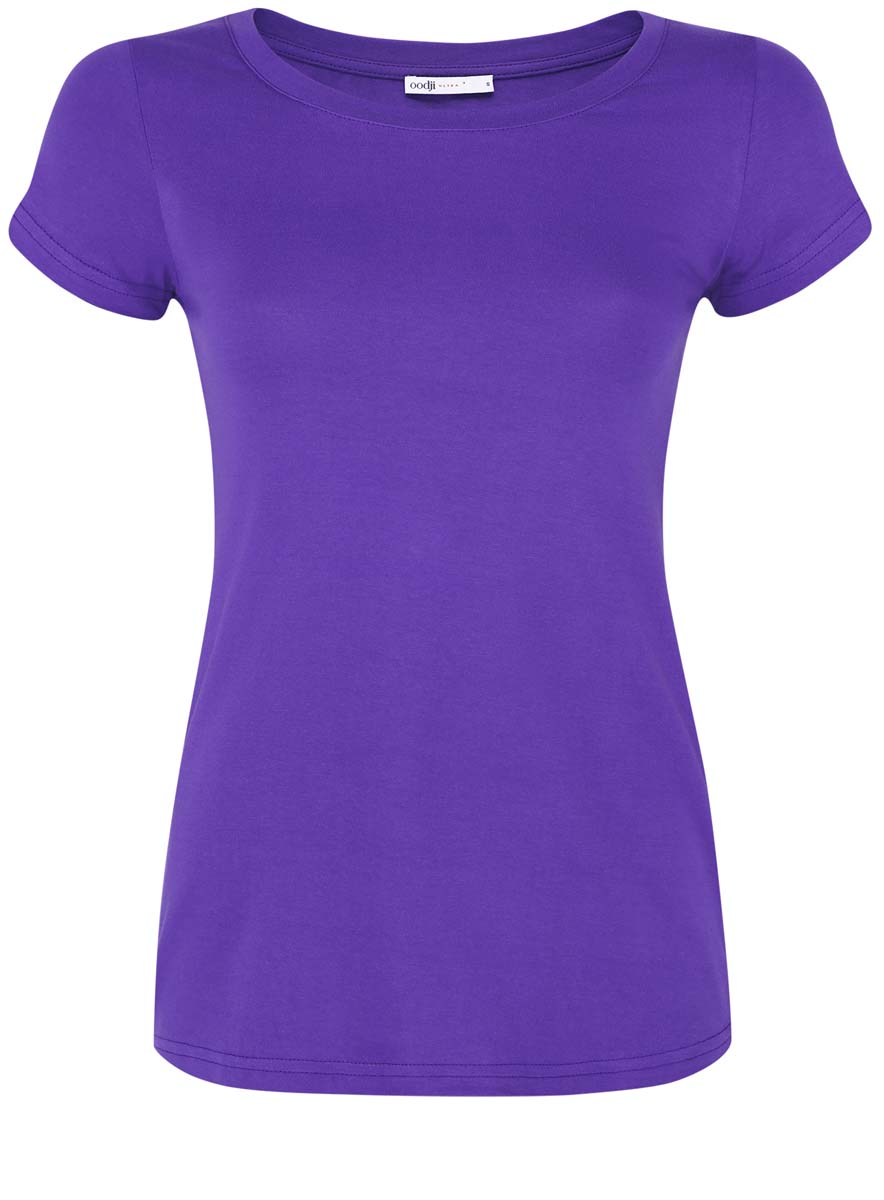 Футболка женская oodji Ultra, цвет: фиолетовый. 14701008B/46154/8300N. Размер XL (50) пуловеры oodji пуловер