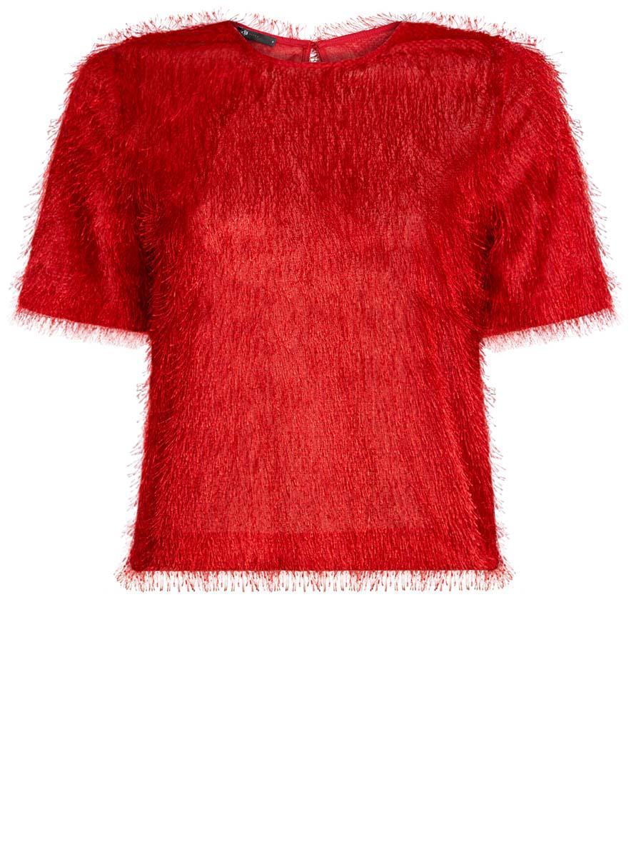 Блузка женская oodji Ultra, цвет: красный. 14701049/46105/4500N. Размер S (44)14701049/46105/4500NЖенская блузка oodji Ultra исполнена из легкой ткани с ворсинками. Изделие имеет короткие рукава, вырез-капельку на спине и застегивается сзади на пуговицу.