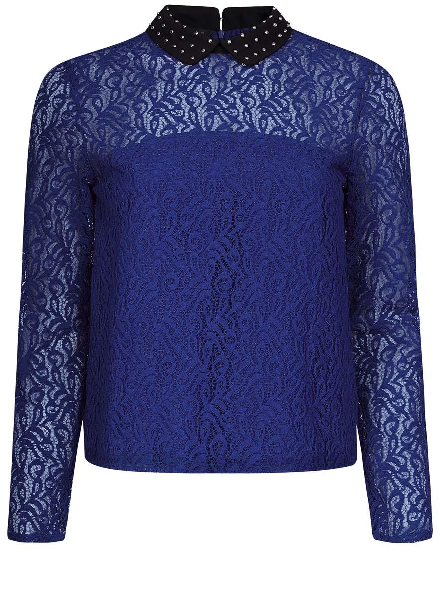 Блузка женская oodji Collection, цвет: синий. 21411092-1/45967/7500N. Размер 42 (48-170) платье oodji collection цвет синий 24007026 37809 7500n размер l 48