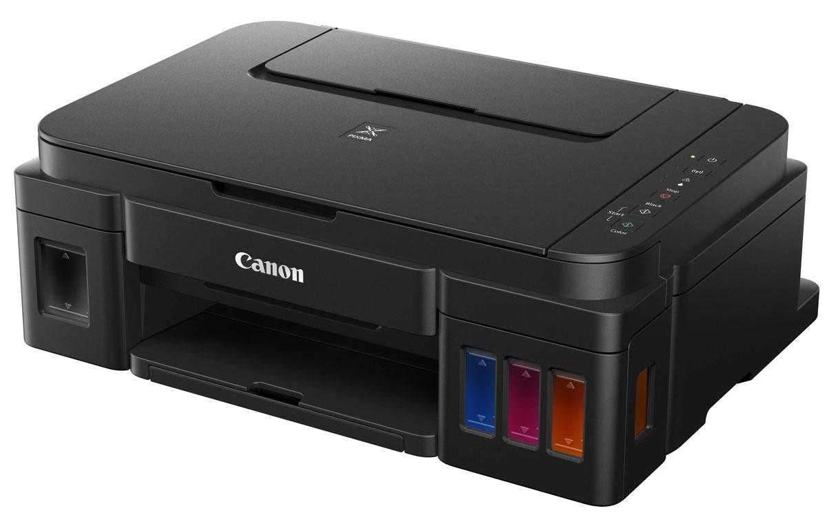 Canon PIXMA G3400 МФУ0630C009Многофункциональный принтер с поддержкой Wi-Fi и облачных приложений, оснащенный чернильницами с увеличенным ресурсом подходит для высококачественной и экономичной печати документов и фотографий дома и в офисе.Сетевая печать, копирование и сканирование в больших объемах:Благодаря встроенной функции Wi-Fi устройство PIXMA G3400 идеально подходит для печати документов и фотографий дома, в домашнем офисе или в небольших организациях. Многофункциональное устройство отличается непревзойденными показателями объемов печати: цветная — 7000 страниц. Черно-белая печать — 6000 страниц. Вы сможете значительно сэкономить на печати.Приложение Canon PRINT / печать по Wi-Fi:Вы сможете без труда печатать с любого устройства, ведь PIXMA G3400 имеет функцию Wi-Fi, которая обеспечивает беспроводную печать с ПК и мобильных устройств через приложение Canon PRINT. Вам не придется устанавливать новое программное обеспечение для моментальной печати.Пигментные черные и цветные чернила:Более высокое качество отпечатков с высококачественными пигментными черными и цветными чернилами для печати четких документов и невероятно ярких изображений. Печать фотографий формата 10х15 см (4x6) без полей всего за 60 секунд.Встроенные емкости для чернил:Дизайн струйных принтеров PIXMA G тщательно продуман. Чернильницы расположены во фронтальной части, так чтобы заправка чернил, отслеживание их уровня во время использования не составило труда. Компактные размеры и элегантный дизайн позволят расположить принтер PIXMA G на рабочем столе, не занимая много места.Надежные элементы для печати больших объемовМы очень постарались, чтобы наша система печати сохраняла стабильность при больших объемах печати. Для этого мы усовершенствовали печатающую головку, созданную по технологии FINE, а также технологию, предотвращающую попадание воздуха в систему подачи чернил.