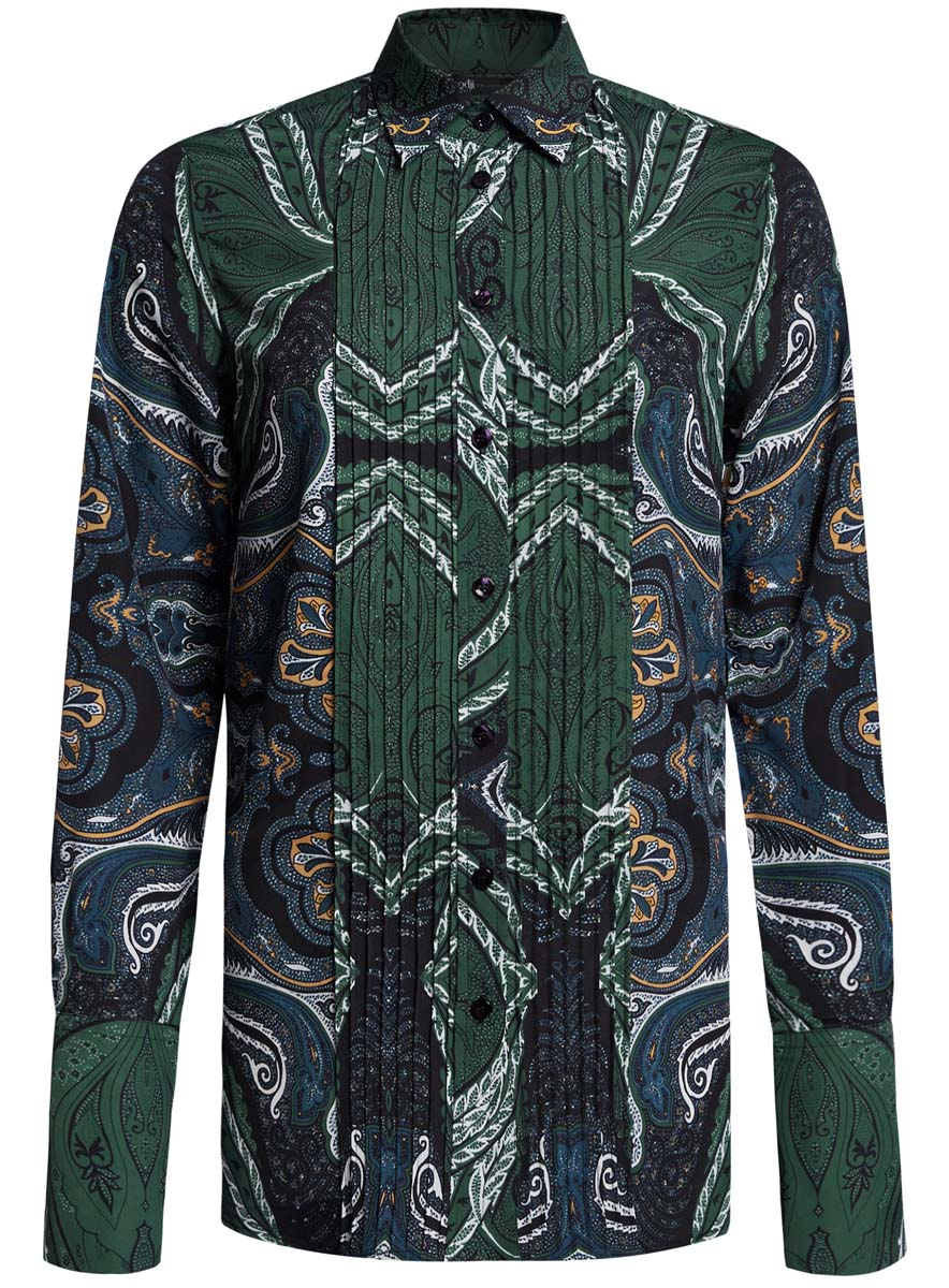 Блузка женская oodji Collection, цвет: темно-зеленый, синий. 21411110/42549/6975E. Размер 42 (48-170)21411110/42549/6975EЖенская блузка oodji Collection исполнена из легкой ткани приталенного кроя. Блузка имеет длинные рукава с отложными манжетами, классический воротничок. Застегивается на пуговицы спереди и на манжетах.