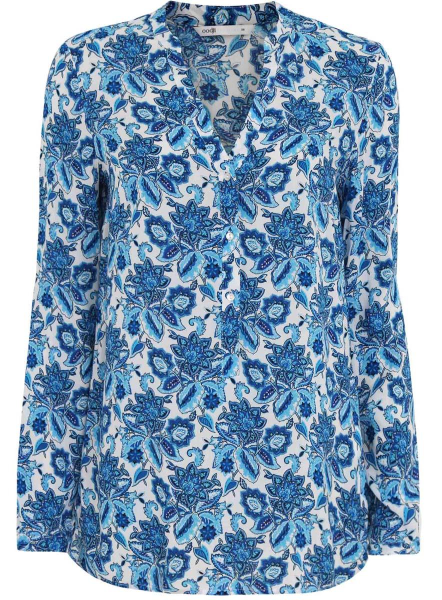 Блузка женская oodji Collection, цвет: белый, синий. 21412143/42127/1075E. Размер 40 (46-170) платье oodji collection цвет черный белый 24001104 1 35477 1079s размер l 48