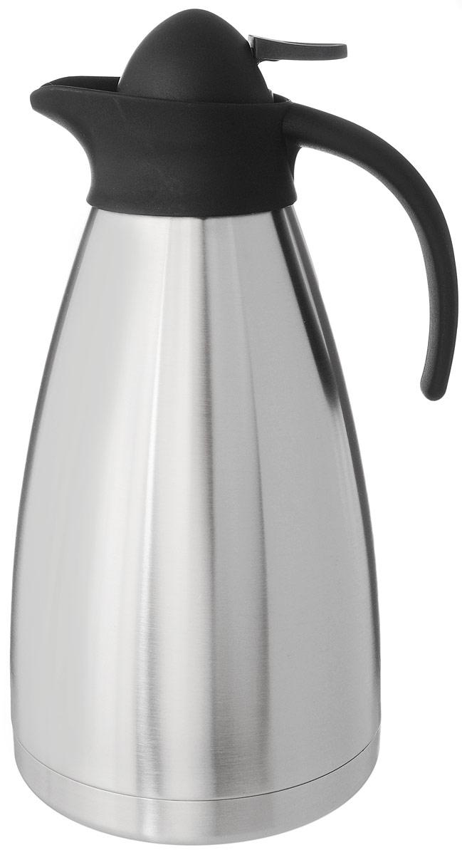 Термос Axentia, цвет: стальной, черный, 2 л116713Термос Axentia, изготовленный из нержавеющей стали с двойными стенками, является простым в использовании, экономичным и многофункциональным. Изделие выполнено в виде кувшина, оснащенного удобной ручкой и носиком для слива жидкости. Термос предназначен для хранения горячих и холодных напитков (чая, кофе) и укомплектован крышкой с кнопкой. Такая крышка удобна в использовании и позволяет, не отвинчивая ее, наливать напитки после простого нажатия. Легкий и прочный термос Axentia сохранит ваши напитки горячими или холодными надолго.Высота (с учетом крышки): 29 см.Диаметр горлышка: 3,5 см.