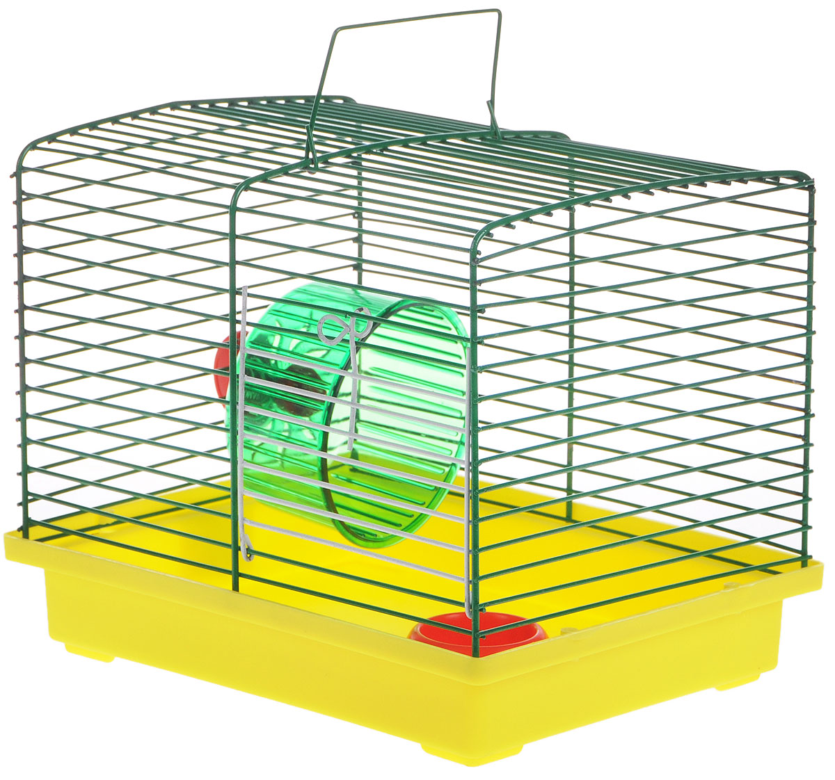 Клетка для джунгариков ЗооМарк, с колесом и миской, цвет: желтый поддон, зеленая решетка, 23 х 18 х 19 см511ЖЗКлетка ЗооМарк, выполненная из пластика и металла, подходит для мелких грызунов. Изделие оборудовано колесом для подвижных игр и пластиковой миской. Клетка имеет яркий поддон, удобна в использовании и легко чистится. Сверху имеется ручка для переноски. Такая клетка станет личным пространством и уютным домиком для маленького грызуна.Комплектация: - клетка с поддоном;- миска;- колесо.