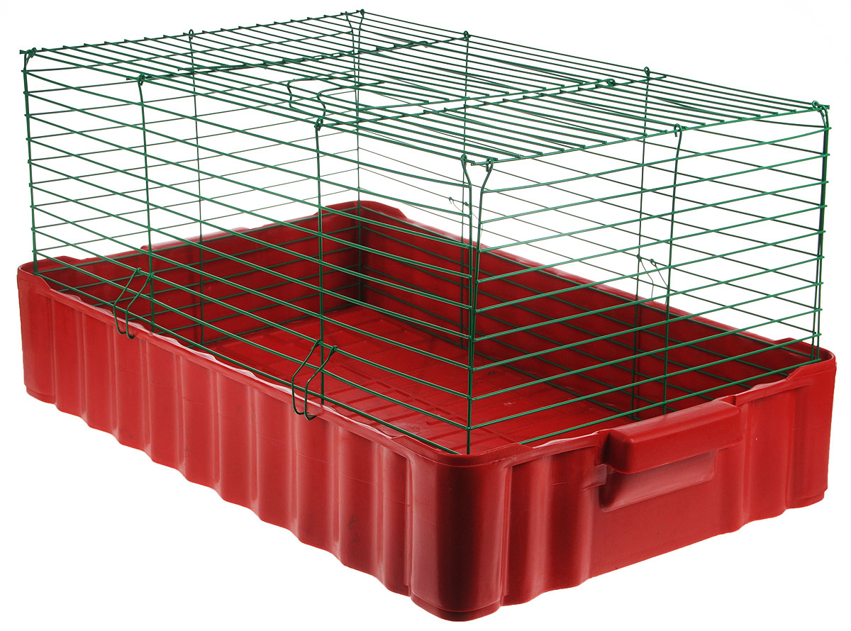 Клетка для кроликов ЗооМарк, цвет: красный поддон, зеленая решетка, 75 х 46 х 40 см тетрадь школьная би джи пиши красиво 12 листов косая линейка скрепка в ассортименте