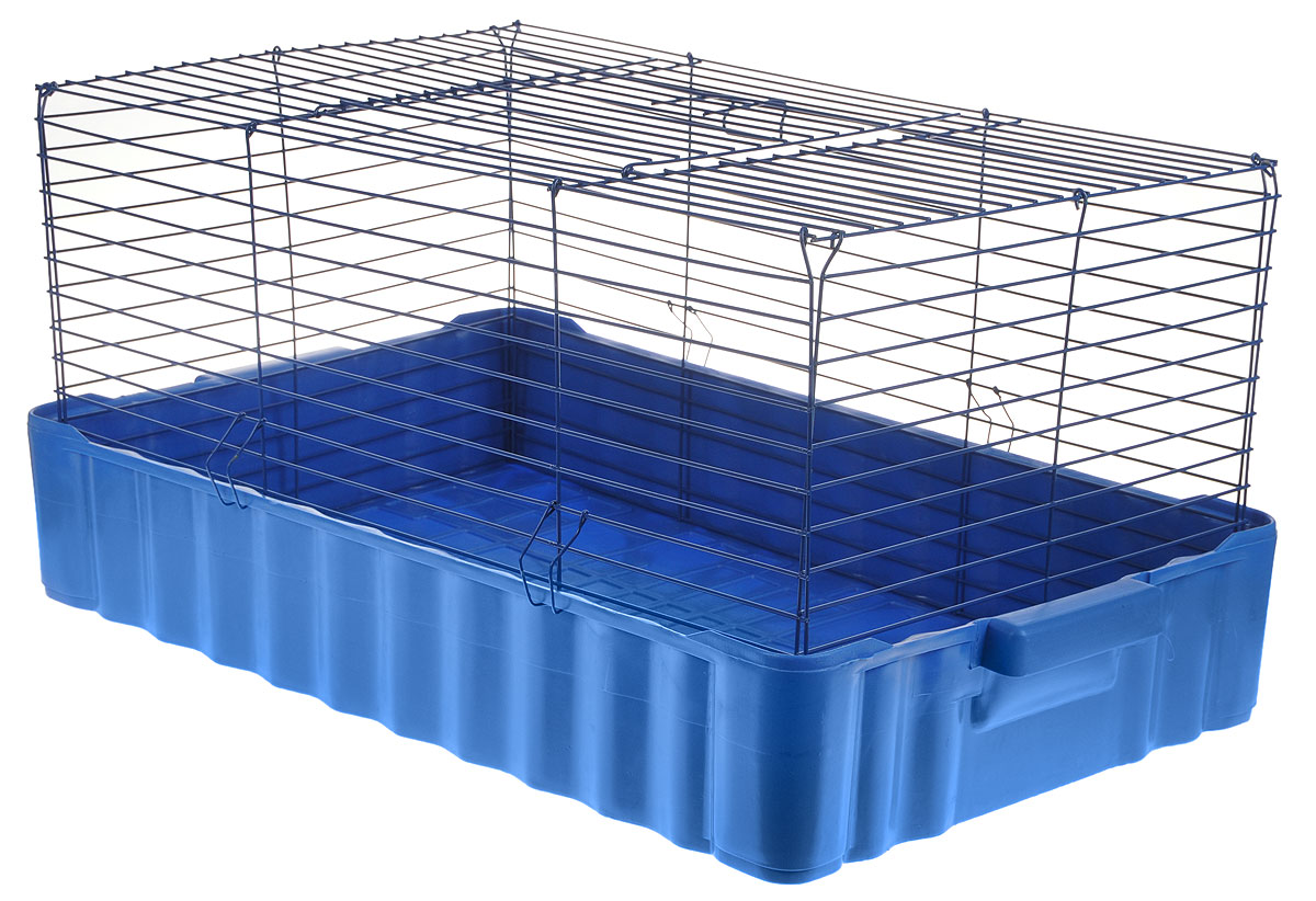 Клетка для кроликов ЗооМарк, цвет: синий поддон, синяя решетка, 75 х 46 х 40 см640ССКлетка для кроликов ЗооМарк, выполненная из металла и пластика, предназначена для содержания вашего любимца. Клетка имеет прямоугольную форму и очень просторна. Размеры позволят оснастить клетку всеми необходимыми предметами. Она очень легко собирается и разбирается. Такая клетка станет для вашего питомца уютным домиком и надежным убежищем.