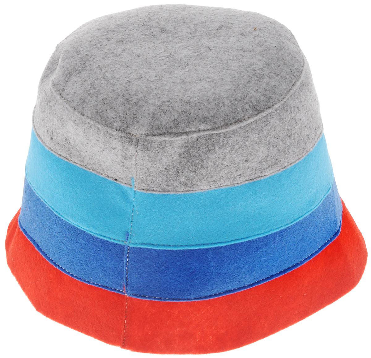 """Шапка для бани и сауны Доктор баня """"В полоску"""", цвет: красный, синий, серый"""