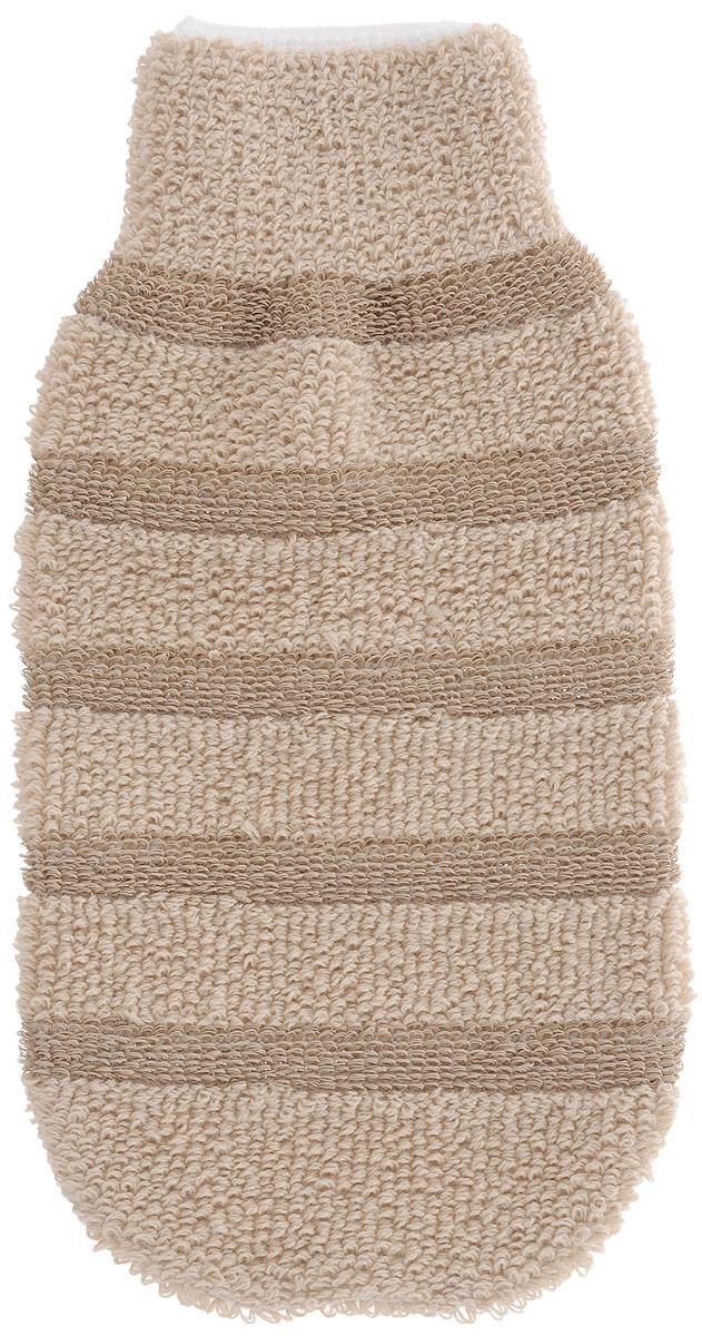 Мочалка-рукавица Riffi, с массажными полосками, цвет: светло-коричневый
