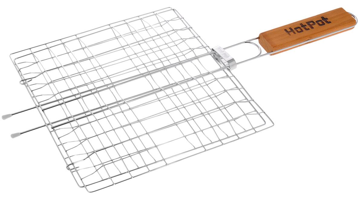 """Универсальная решетка-гриль """"Hot Pot"""" изготовлена из высококачественной стали. На решетке удобно размещать стейки, ребрышки, гамбургеры, сосиски, рыбу, овощи.Решетка предназначена для приготовления пищи на углях. Блюда получаются сочными, ароматными, с аппетитной специфической корочкой. Рукоятка изделия оснащена деревянной вставкой и фиксирующей скобой, которая зажимает створки решетки. Размер рабочей поверхности решетки (без учета усиков): 23 х 23 см.                                                                                                                                              Общая длина решетки (с ручкой): 47,5 см."""