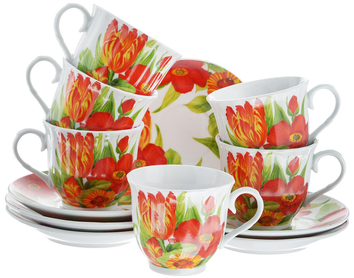 Набор чайный Bella, 12 предметов. DL-RF6-037DL-RF6-037Чайный набор Bella состоит из 6 чашек и 6 блюдец, изготовленных из высококачественного фарфора. Такой набор прекрасно дополнит сервировку стола к чаепитию, а также станет замечательным подарком для ваших друзей и близких. Объем чашки: 220 мл. Диаметр чашки (по верхнему краю): 8 см. Высота чашки: 7 см. Диаметр блюдца: 14 см.Высота блюдца: 2 см.