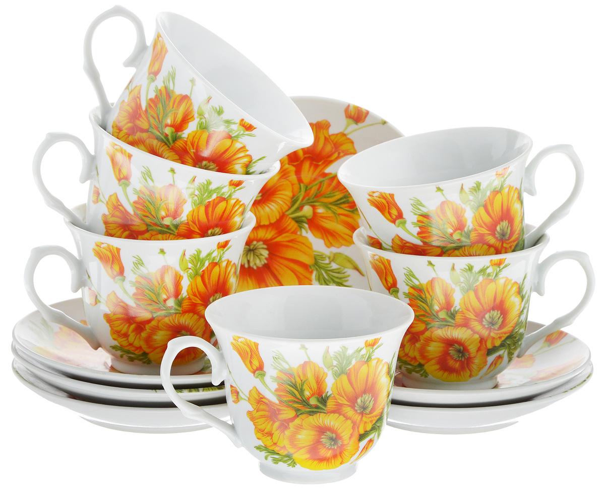 Набор чайный Bella, 12 предметов. DL-RP6-163DL-RP6-163Чайный набор Bella состоит из 6 чашек и 6 блюдец, изготовленных из высококачественного фарфора. Такой набор прекрасно дополнит сервировку стола к чаепитию, а также станет замечательным подарком для ваших друзей и близких. Объем чашки: 250 мл. Диаметр чашки (по верхнему краю): 9 см. Высота чашки: 7,5 см. Диаметр блюдца: 14 см.Высота блюдца: 2 см.