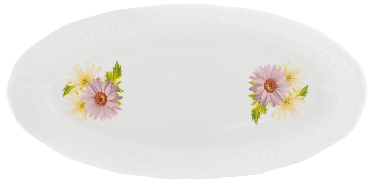 Селедочница Фарфор Вербилок Розовые герберы, 27 х 13,5 х 2 см219031166Селедочница Фарфор Вербилок Розовые герберы изготовлена из высококачественного фарфора и декорирована цветочным рисунком. Изделие идеально подходит для сервировки сельди в нарезке, а также разных видов закусок. Изумительное сервировочное блюдо-селедочница Фарфор Вербилок Розовые герберы станет изысканным украшением вашего праздничного стола.Размеры селедочницы: 27 х 13,5 см.Высота: 2 см.