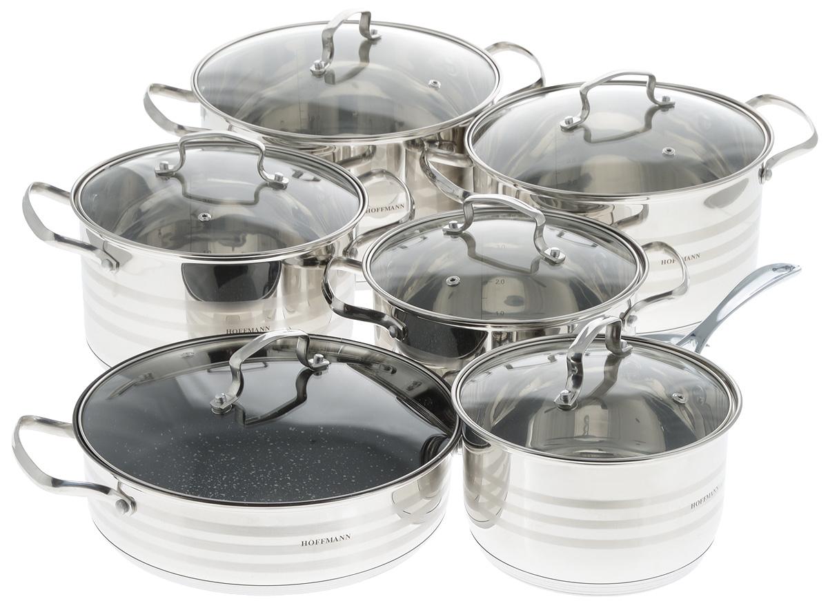 Набор посуды Hoffmann, 12 предметов. HM 5114 набор кастрюль hoffmann цвет серебристый красный 12 предметов hm 5114