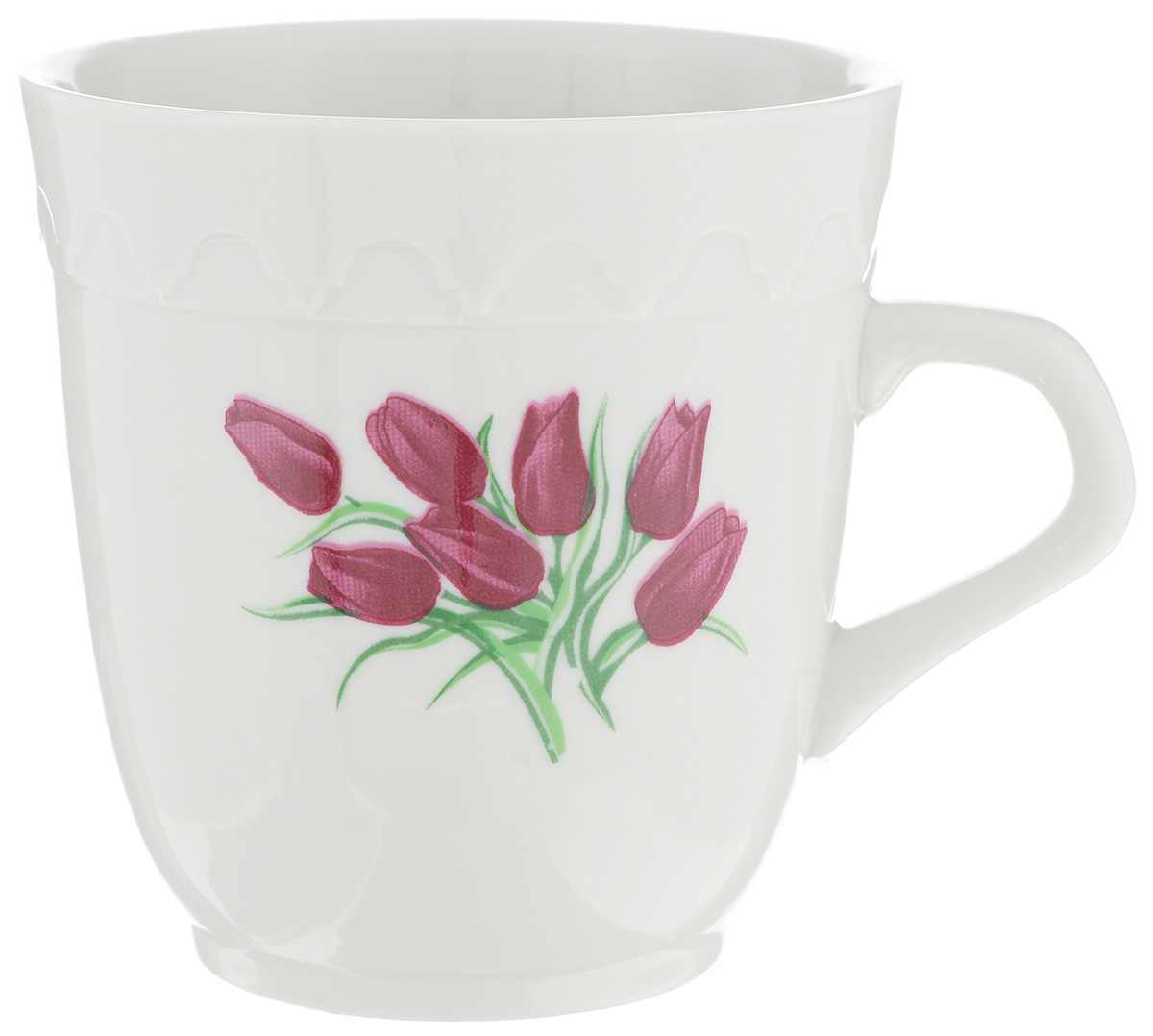 """Кружка Фарфор Вербилок """"Арабеска. Тюльпаны"""" способна  скрасить любое чаепитие. Изделие выполнено из  высококачественного фарфора. Посуда из такого  материала позволяет сохранить истинный вкус напитка, а  также помогает ему дольше оставаться теплым. Диаметр по верхнему краю: 8,3 см. Высота кружки: 9 см."""
