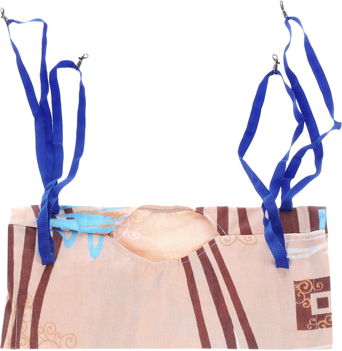 Гамак-тоннель для шиншилл и хорьков ЗооМарк, подвесной, шуршащий, цвет: бежевый, коричневый, синий. Д-09 гамак гамак гамак гамак гамак открытый гамак наружные подвески