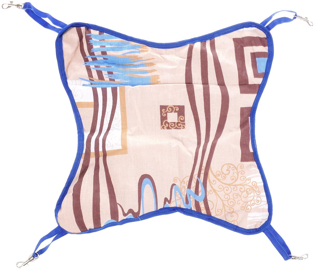Гамак для шиншилл и хорьков ЗооМарк, подвесной, цвет: бежевый, коричневый, синий. Д-11Д-11_бежевый, коричневый, синийГамак ЗооМарк станет лучшим подарком для вашего любимца.Гамак выполнен из высококачественных материалов и оснащен 4 специальными креплениями на карабинах. Мягкий подвесной гамак ЗооМарк надолго привлечет внимание животного и обеспечит интересным времяпровождением. Размеры изделия: 40 х 40 см. Длина крепления (без учета карабина): 9 см.
