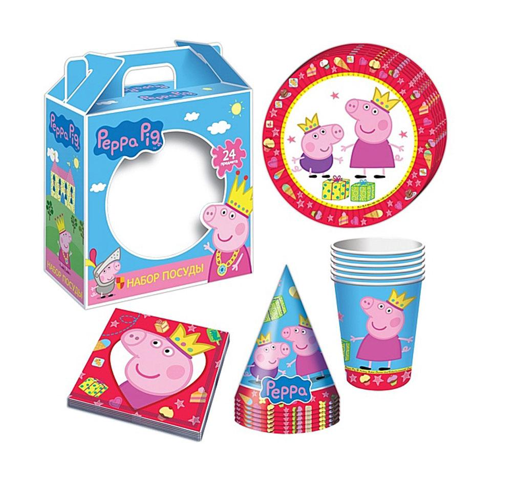 Peppa Pig Набор бумажной посуды и аксессуаров Пеппа-принцесса 24 предмета одноразовая посуда peppa pig одноразовая посуда