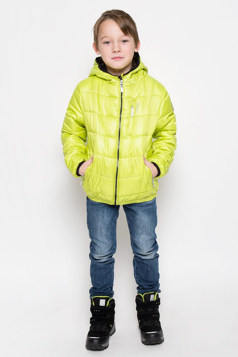 Куртка для мальчика Icepeak Robbie Jr, цвет: светло-зеленый. 650015507IV. Размер 140650015507IVКуртка, изготовленная из водоотталкивающей и ветрозащитной ткани, утеплена синтепоном. В качестве подкладки используется полиэстер. Куртка с капюшоном застегивается на молнию. Капюшон не отстегивается. Края рукавов и капюшона дополнены эластичными трикотажными резинками. Модель дополнена двумя прорезными карманами на молниях и одним нагрудным кармашком на молнии. Низ изделия дополнен эластичной резинкой.Изделие дополнено светоотражающим элементом для безопасности ребенка в темное время суток.