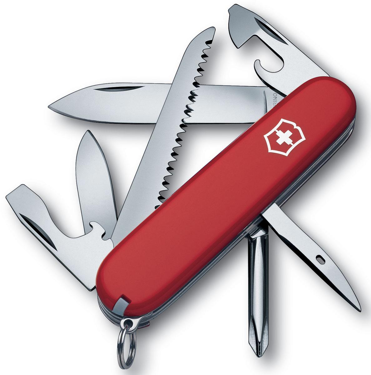 Нож перочинный Victorinox Hiker, цвет: красный, 13 функций, 9,1 см1.4613Лезвие перочинного складного ножа Victorinox Hinker изготовлено из высококачественной нержавеющей стали. Ручка, выполненная из прочного пластика, обеспечивает надежный и удобный хват.Хорошее качество, надежный долговечный материал и эргономичная рукоятка - что может быть удобнее на природе или на пикнике!Функции ножа:Большое лезвие.Малое лезвие.Крестовая отвертка.Консервный нож с малой отверткой.Открывалка для бутылок с отверткой.Инструмент для снятия изоляции.Шило, кернер.Кольцо для ключей.Пинцет.Зубочистка.Пила по дереву.Длина ножа в сложенном виде: 9,1 см.Длина ножа в разложенном виде: 16 см.Длина большого лезвия: 7 см.Длина малого лезвия: 4 см.