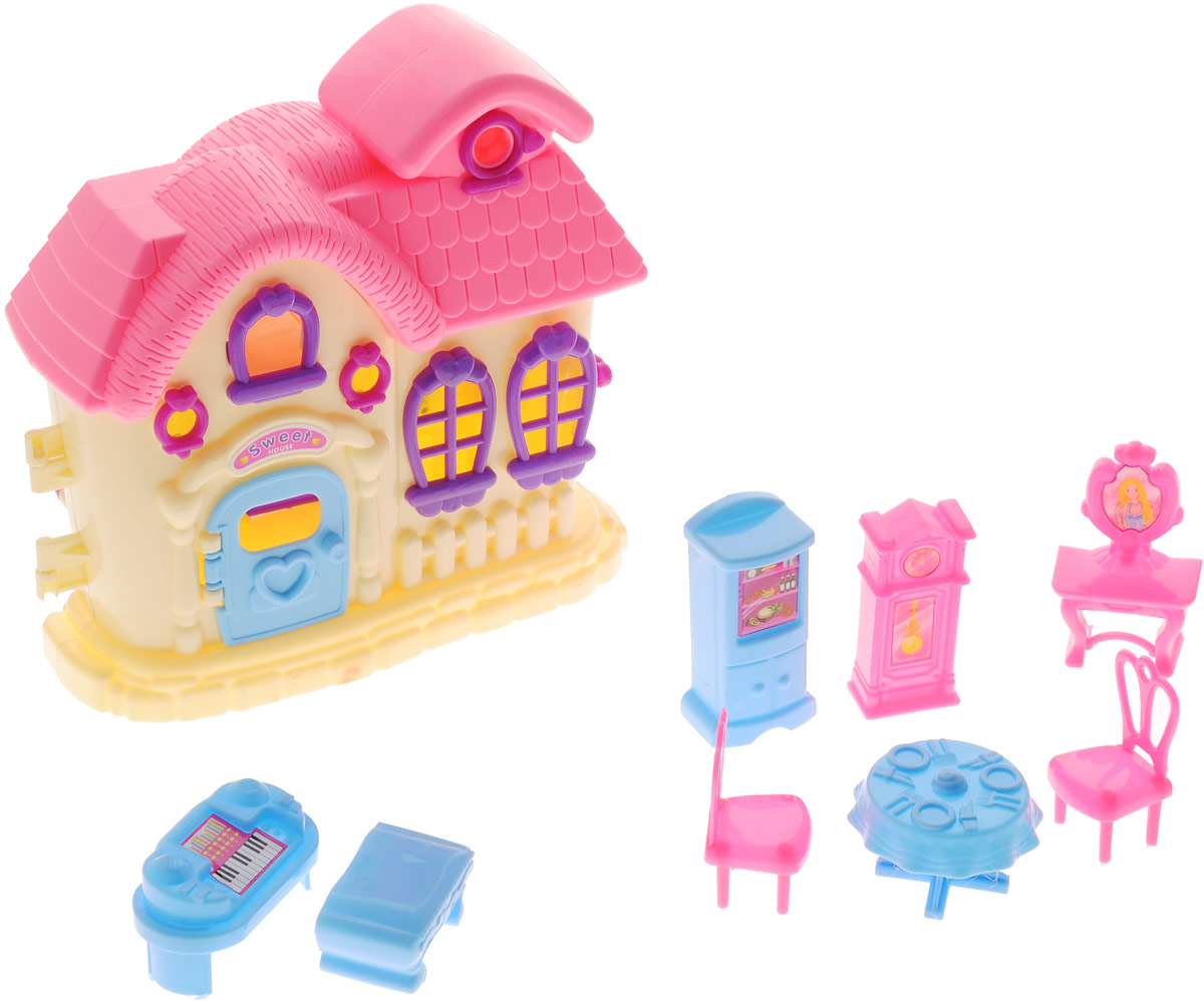 ABtoys Дом для кукол цвет желтый розовый кукол домик