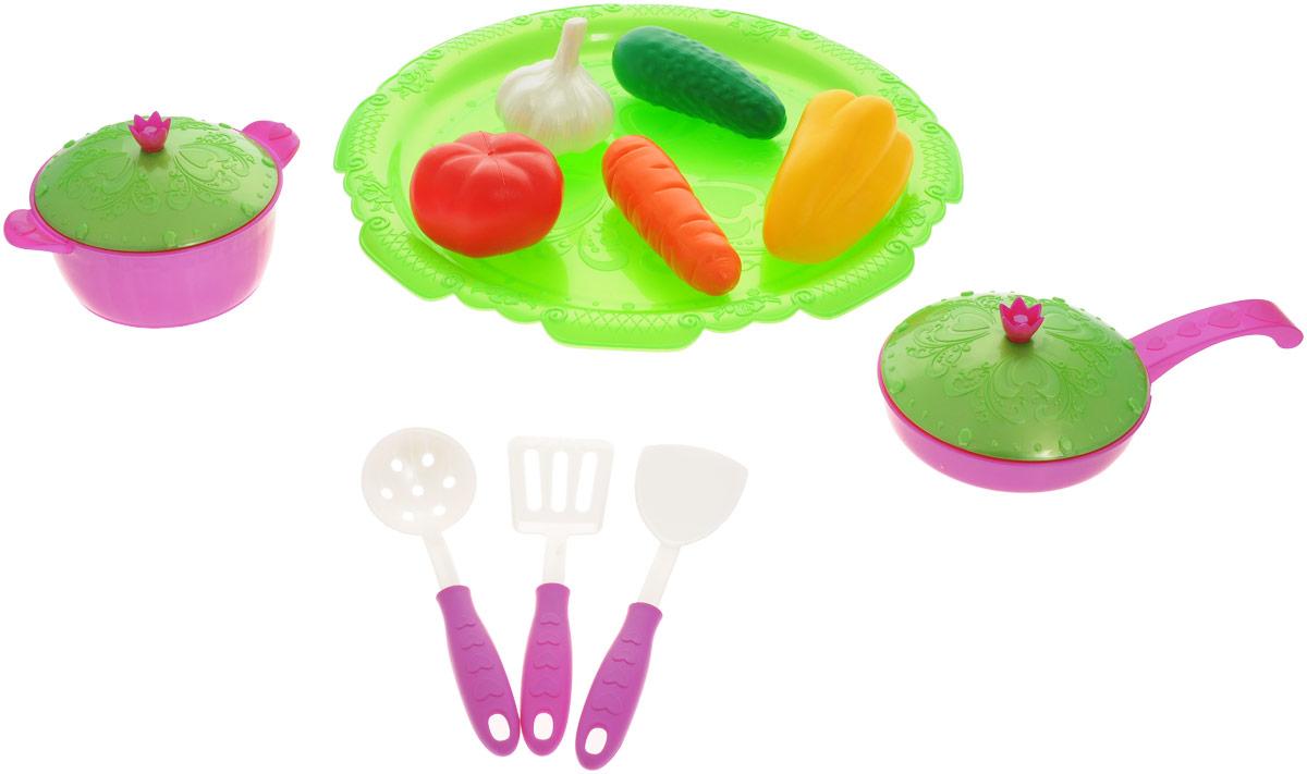 Нордпласт Набор овощей и кухонной посуды Волшебная хозяюшка цвет салатовый фуксия 13 предметов нордпласт набор кухонной и чайной посудки барби 21 предмет нордпласт