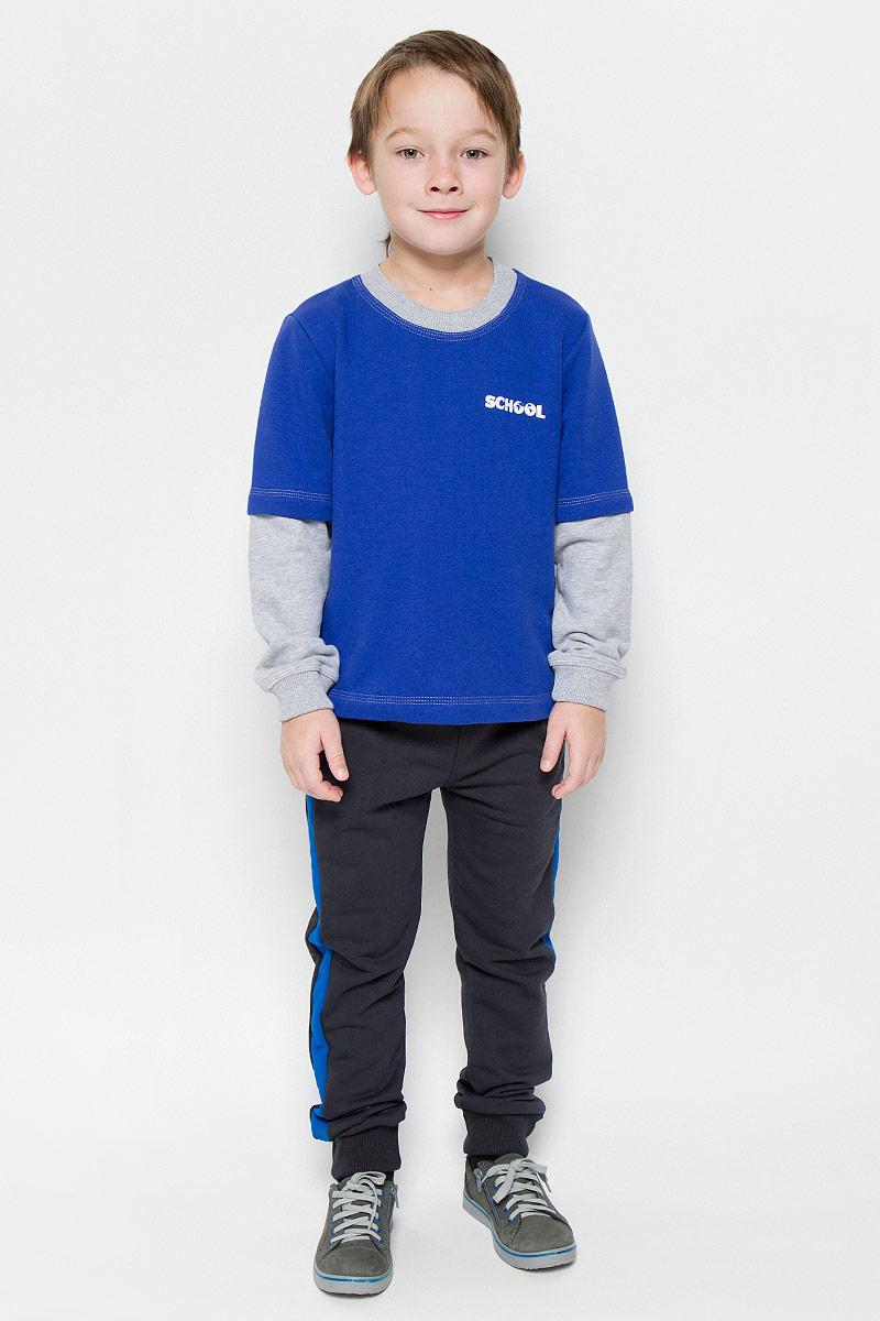 Свитшот для мальчика Pastilla Штурман, цвет: васильковый, серый меланж. 6816. Размер 152