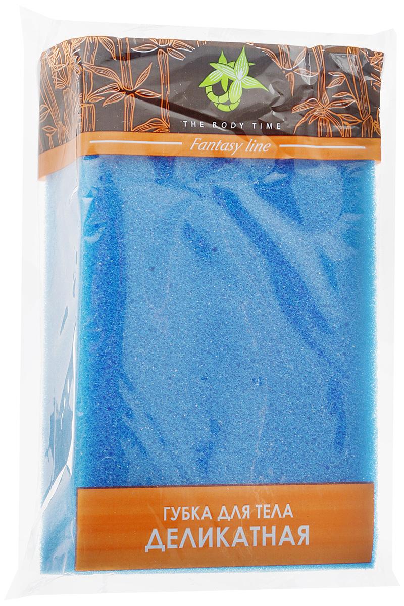 Губка для тела The Body Time Деликатная, цвет: синий, 9 х 15 х 4 см