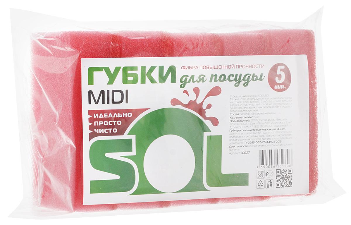 Губка для мытья посуды Sol Midi, цвет: розовый, 5 шт10027_розовыйГубки Sol Midi предназначены для мытья посуды и других поверхностей. Выполнены из поролона и абразивного материала. Мягкий слой используется для деликатной чистки и способствует образованию пены, жесткий - для сильных загрязнений.Размер губки: 5 х 8 х 2,5 см.