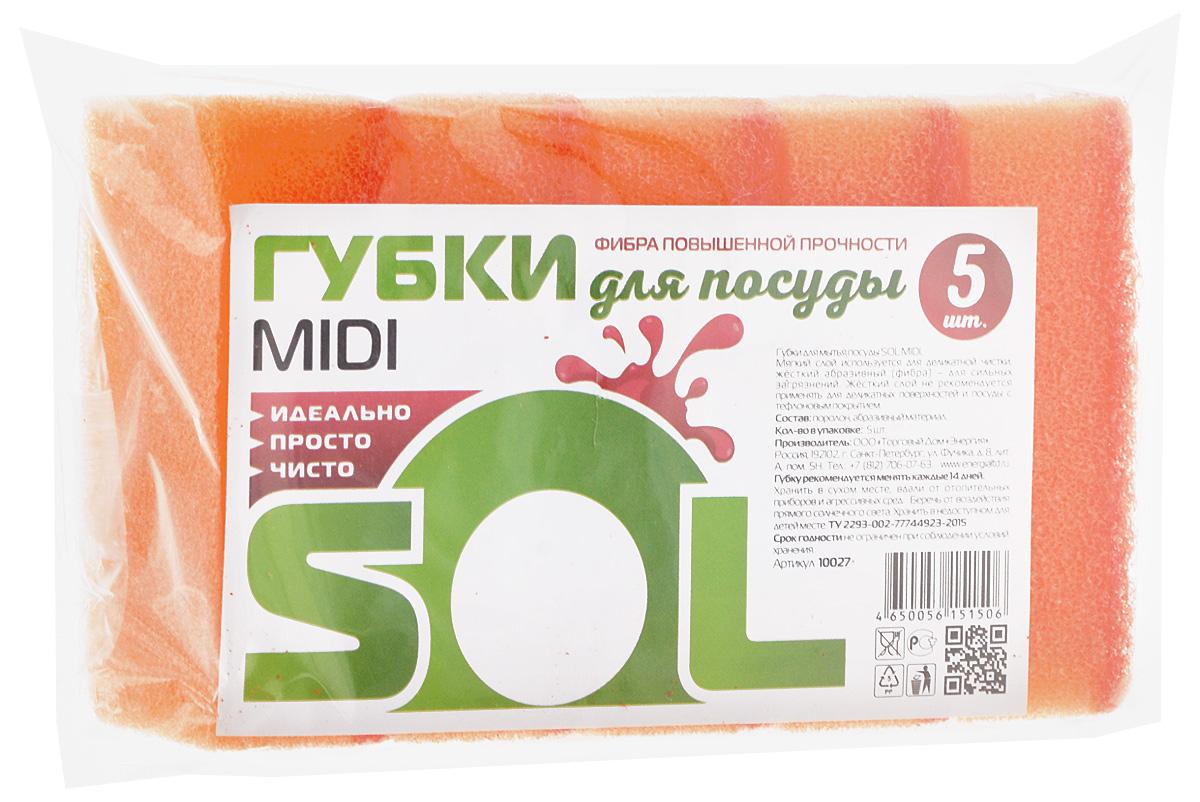 Губка для мытья посуды Sol Midi, цвет: оранжевый, 5 шт10027_оранжевыйГубки Sol Midi предназначены для мытья посуды и других поверхностей. Выполнены из поролона и абразивного материала. Мягкий слой используется для деликатной чистки и способствует образованию пены, жесткий - для сильных загрязнений.Размер губки: 5 х 8 х 2,5 см.