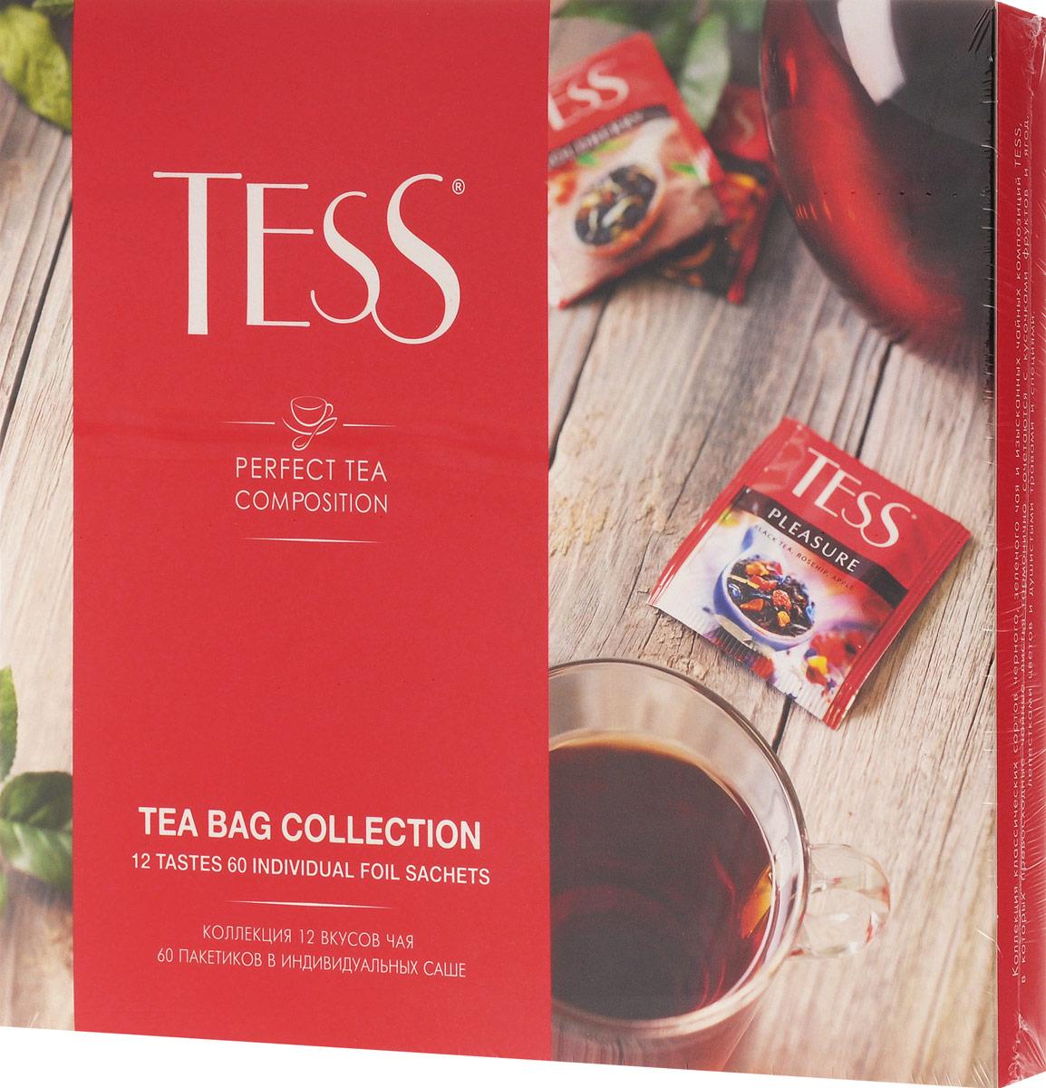 Tess Коллекция чая и чайных напитков в пакетиках, 60 шт1175-12В коллекции пакетированного чая Tess вы найдете все многообразие классических сортов черного и зеленого чая и изысканные чайные композиции, в которых высококачественные чайные листья гармонично сочетаются с натуральными фруктами, ягодами, лепестками цветов и душистыми травами.