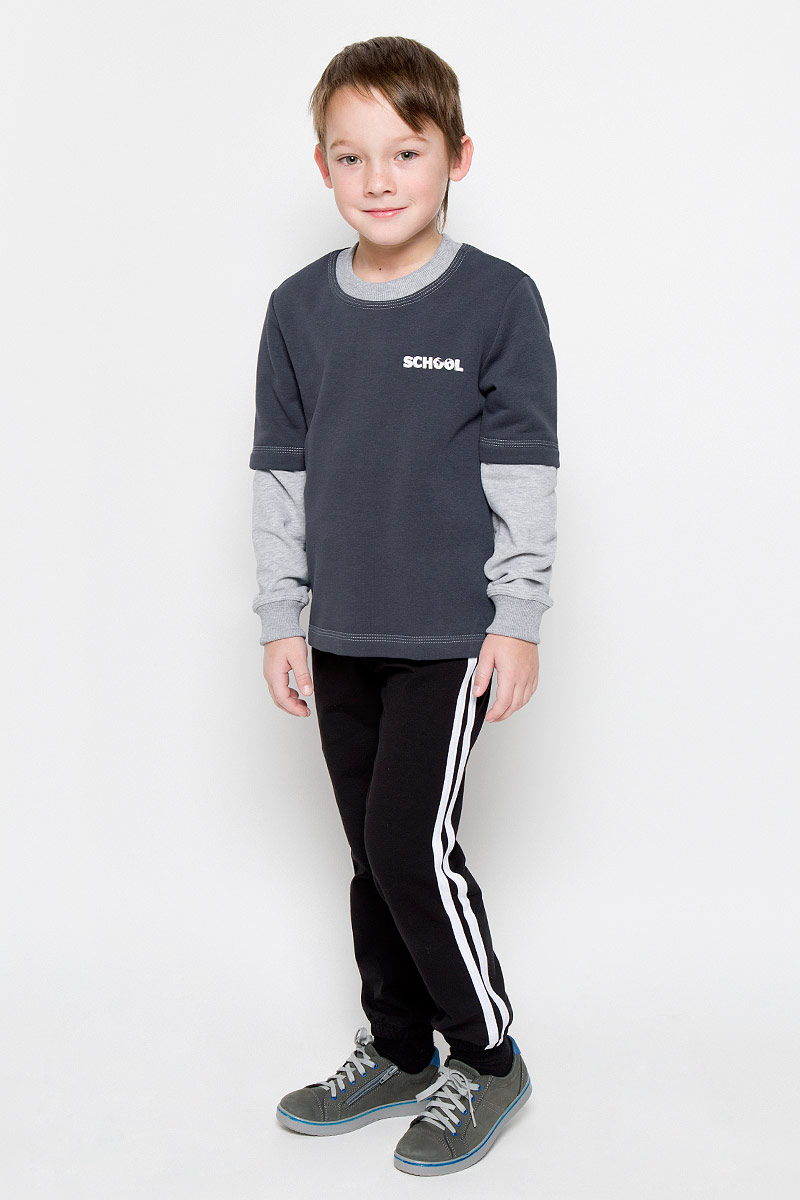 Свитшот для мальчика Pastilla Штурман, цвет: темно-серый, серый меланж. 6816. Размер 152