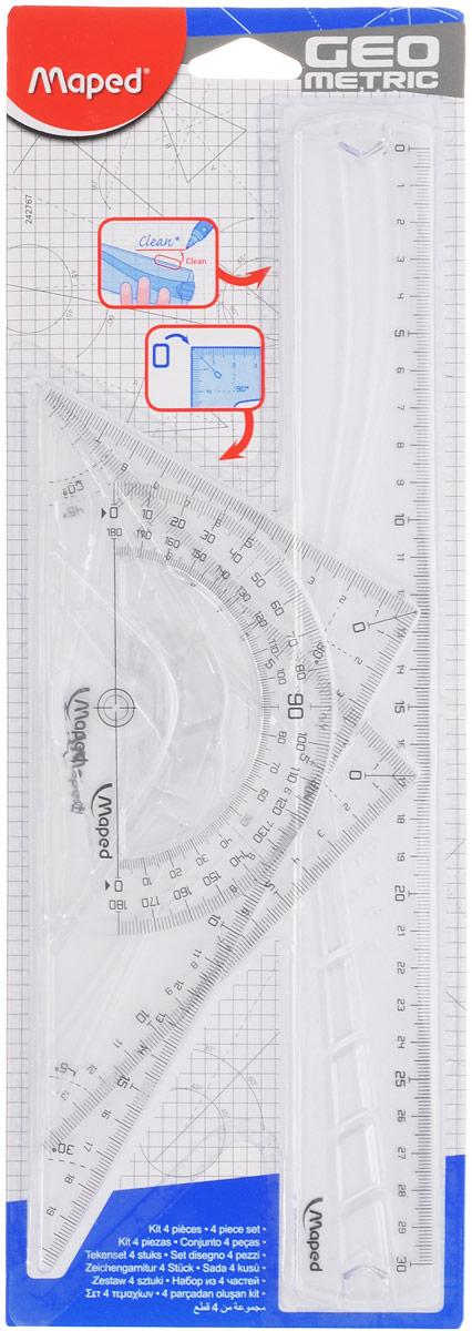 Maped Геометрический набор цвет прозрачный 4 предмета242767_прозрачныйГеометрический набор Maped, выполненный из прозрачного пластика, можно носить повсюду, не опасаясь сломать. Все чертежные инструменты сгибаются в любом направлении, а после непродолжительного времени принимают первоначальную форму и не деформируются.Состоит набор из четырех предметов: линейки на 30 сантиметров, транспортира на 180 градусов и двух треугольников. Один треугольник с углами 45, 45, 90 градусов, две стороны угольника представляют собой линейки на 14 сантиметров. Второй угольник с углами 30, 60, 90 градусов и линейками на 20 и 11 сантиметров. Нулевая отметка расположена в вершине угольников, что позволяет измерять и чертить одновременно.Разметка шкалы нанесена на внутреннюю поверхность чертежных принадлежностей, что предотвращает ее истирание. Легко читаемая двусторонняя шкала - выделены каждые 5 см. Каждый чертежный инструмент имеет свои функциональные особенности, что делает работу с ними особенно удобной и легкой.
