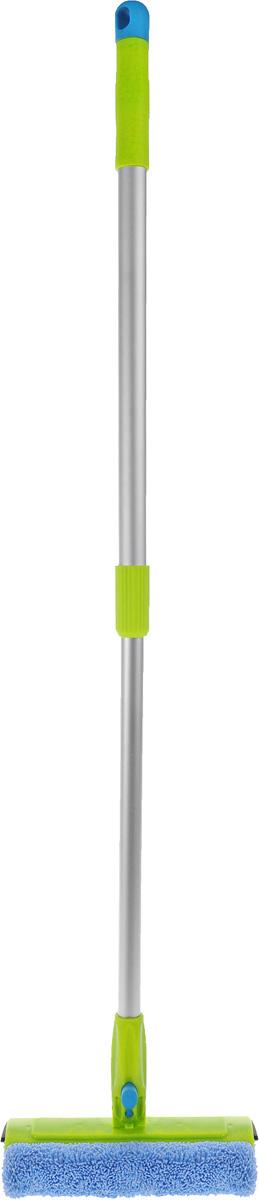Швабра Paterra, для стекол, с мобильной насадкой, длина 95 см406-090Швабра для мытья стекол Paterra – это идеальный инструмент для уборки. Одна сторона швабры выполнена из полиуретана и микрофибры, что позволяет легко очистить стекло от загрязнений без использования бытовой химии. Вторая сторона швабры представляет собой резиновый водосгон, который удаляет лишнюю влагу, не оставляя разводов на поверхности. Дополнительное удобство в использовании обеспечивает мобильное основание. Вы можете выбрать оптимальный угол наклона, это обеспечит качественную уборку в труднодоступных местах. Телескопическая ручка швабры облегченная, так как сделана из алюминия.Максимальная длина швабры: 95 см.