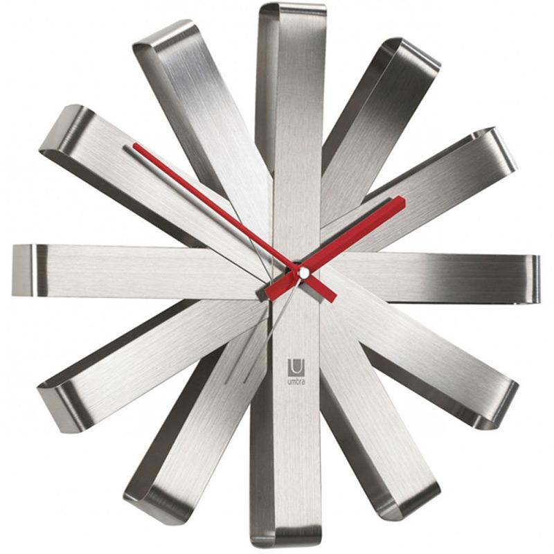 Часы настенные Umbra Ribbon, цвет: металлик декор для стен