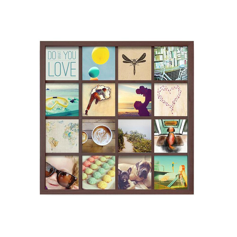 Панно для фотографий Umbra Gridart, цвет: шоколадный311030-746Одно фото - это ценное воспоминание об отпуске или о счастливом моменте в кругу близких. Но для воссоздания атмосферы больше - лучше! Панно для 16 фотографий поможет вам создать коллаж из самых счастливых жизненных моментов. Можно использовать фотографии, открытки, письма, вырезки из журналов и карты - настоящий полет фантазии!Размер каждого фото - 10,2 х 10,2 см (просто обрежьте стандартные фотографии и поместите их под стекло).
