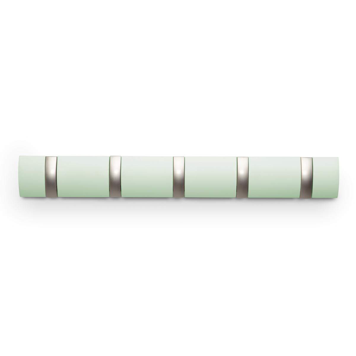 Вешалка Umbra Flip, настенная, цвет: зеленый, 5 крючков318850-730Стильная и прочная вешалка интересной формы. Имеет 5 откидных алюминиевых крючков. Когда они не используются, то складываются внутрь, превращая конструкцию в абсолютно гладкую поверхность.Идеально для маленьких прихожих и ограниченных пространств.Каждый крючок выдерживает вес до 2,3 кг.