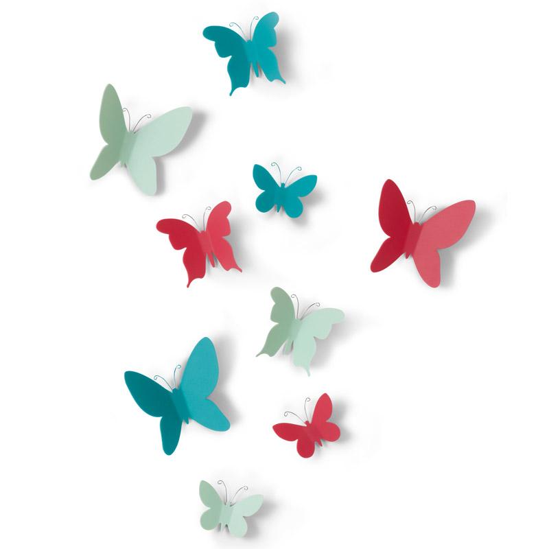 Декоративное украшение Umbra Mariposa, настенное, цвет: мультиколор, 9 предметов стакан для ванной umbra droplet цвет дымчатый 9 3 х 9 6 х 9 6 см