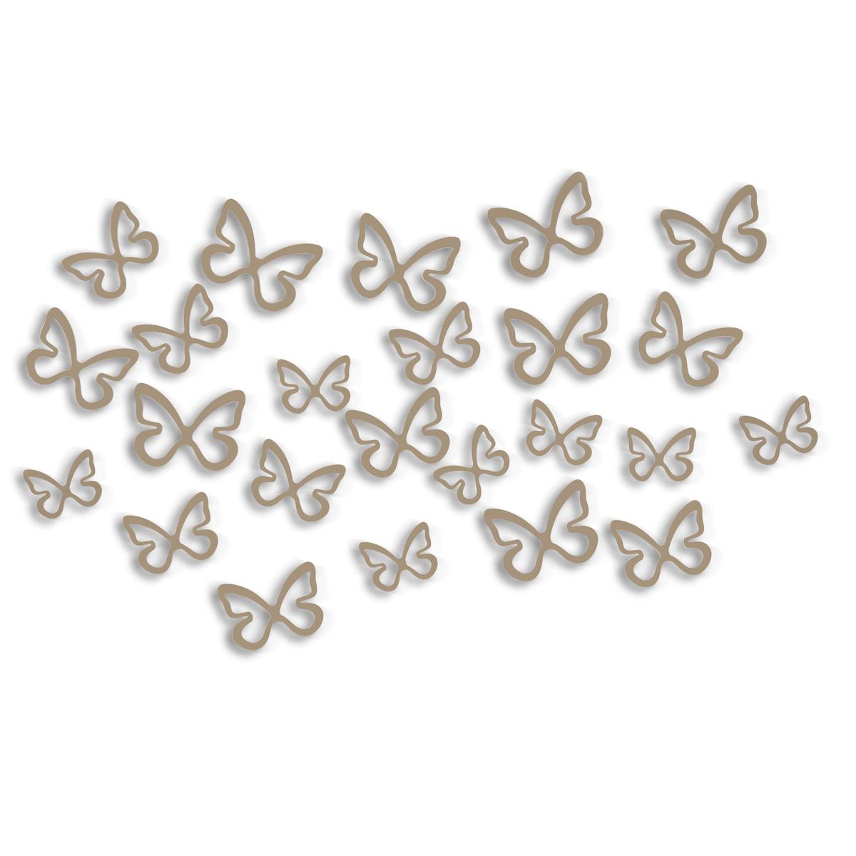Декоративное украшение Umbra Flitterbye, настенное, 24 шт470666-480Двадцать четыре бабочки, непринужденно летающие по стене, создадут атмосферу легкости и красоты в вашей комнате. Легко крепятся к стене – все необходимое уже в комплекте. Поставляется в подарочной упаковке, с открытым дисплеем. В отличие от виниловых наклеек, подойдут для любой поверхности, даже для стен с обоями!