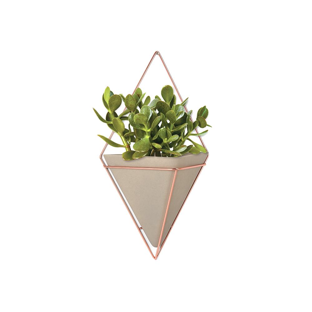 Декоративное украшение Umbra Trigg, настенное, цвет: металлик470752-633Стильный и функциональный настенный декор со строгими геометрическими формами. Представляет собой треугольную вазу из бетона в медном ромбовидном обрамлении. Может быть использован в качестве кашпо для цветов или как подставка для мелочей. Крепится к стене или к вешалке. Две или более вазы могут формировать геометрические узорные композиции.
