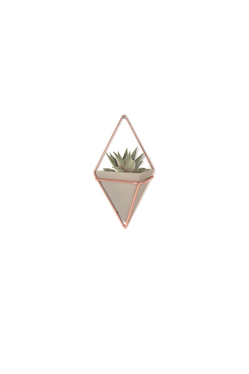 Украшение на стену Umbra Trigg, цвет: металлик, 2 шт470753-633Украшение на стену Umbra Trigg - стильный и функциональный настенный декор со строгими геометрическими формами. Представляет собой треугольную вазу из бетона в медном ромбовидном обрамлении.Может быть использован в качестве кашпо для цветов или как органайзер для мелочей. Две или более вазы могут формировать геометрические узорные композиции.В набор входит два украшения.