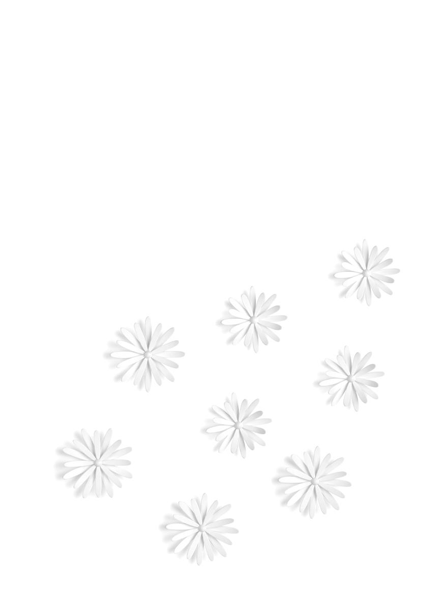 Декоративное украшение Umbra Delica, настенное, 8 шт472012-660Пышные цветы, на создание которых дизайнера вдохновили садовые маргаритки. В набор входят 8 цветков трех разных размеров.Крепятся на стену при помощи специальной липучки 3M Command. Размер цветов: диаметр 12.1 x 2.8 см, диаметр 10.8 x 3.2 см и диаметр 9.1 см x 3.1 см.